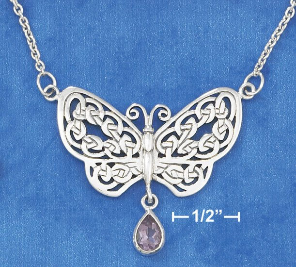 SILVER NECKLACE W/ CELTIC KNOT BUTTERFLY/AMETHYST
