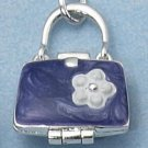 SILVER ENAMEL 2 SIDED PURPLE PURSE LOCKET
