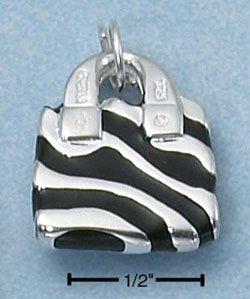 ENAMEL BLACK ZEBRA STRIPE PURSE W/ CZ HANDLE CHARM
