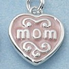 "STERLING SILVER ""MOM"" IN PINK ENAMEL HEART CHARM"
