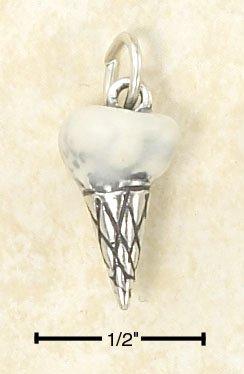 SILVER 3D ENAMELED VANILLA ICE CREAM CONE CHARM