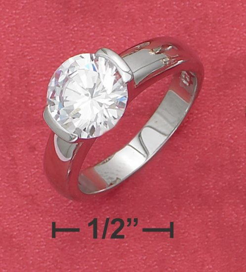 STERLING SILVER TENSION SET 2.75CT  RND CZ ENGAGEMENT RING