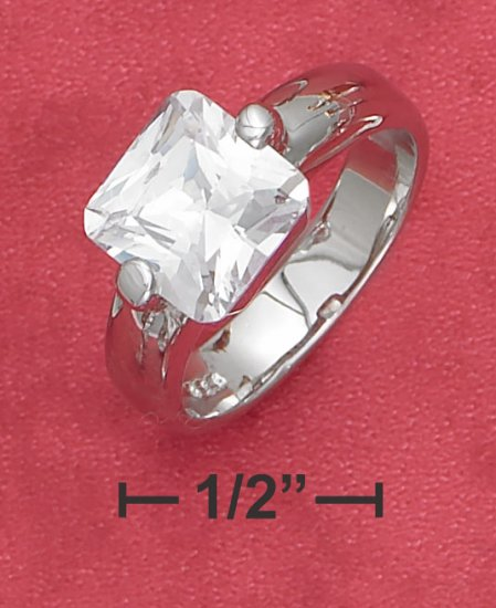STERLING SILVER TENSION SET 2.75CT SQUARE CZ ENGAGEMENT RING