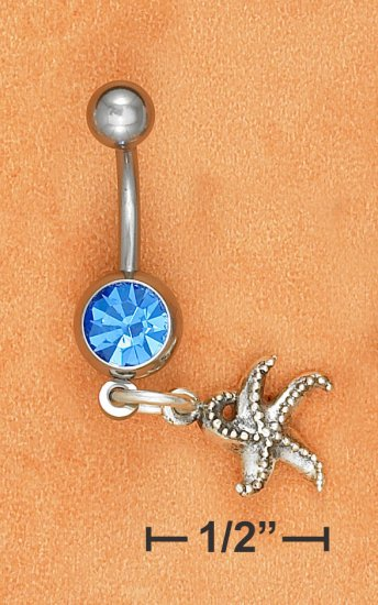 BELLY RING W/ SAPPHIRE GEM STONE & STAR FISH DANGLE
