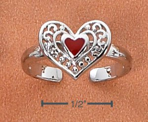 STERLING SILVER  SCROLLED RED HEART TOE RING
