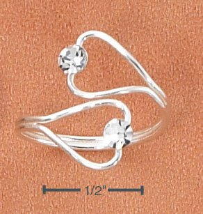 SILVER OPEN HEARTS W/ CLEAR CRYSTALS WRAP TOE RING