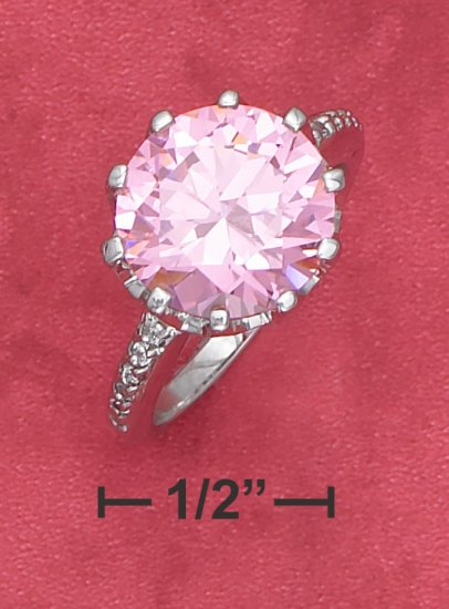 STERLING SILVER 3.75CT ROUND PINK ICE CZ RING IN CROWN SETTING
