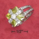 STERLING SILVER 9.5 CT  SQUARE GREEN APPLE CZ RING