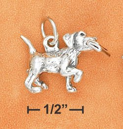 STERLING SILVER ANTIQUED 3D PUPPY WITH PAPER CHARM
