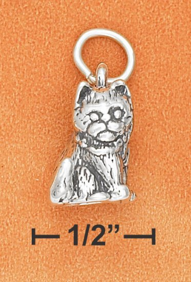 STERLING SILVER 3D ANTIQUED SITTING KITTEN CHARM