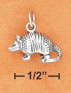 STERLING SILVER ANTIQUED 3D ARMADILLO CHARM