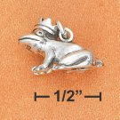 STERLING SILVER 3D PRINCE FROG W/CROWN CHARM