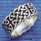 STERLING SILVER MENS FANCY CELTIC BAND RING