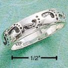 STERLING SILVER NARROW BAND W/ FOOTPRINTS