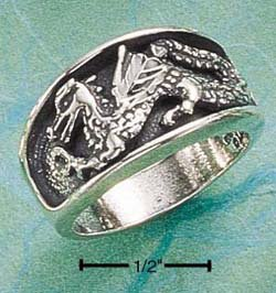 STERLING SILVER INSET DC DRAGON BAND