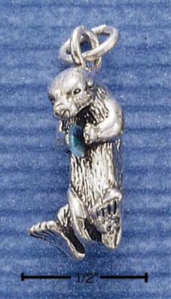 STERLING SILVER SEA OTTER W/ OPAL CHARM