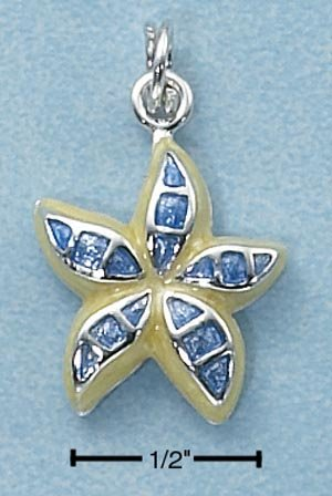 STERLING SILVER ENAMEL BLUE /YELLOW STARFISH CHARM