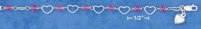 "SILVER 6"" HEART & PINK CRYSTAL LINK CHILD'S BRACELET W/ PUFF HEART DANGLE"