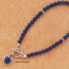 "STERLING SILVER 7"" LAPIS BEADS & HEART TOGGLE BRACELET"