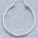 "STERLING SILVER 20MM TUBULAR HOOP WITH ""U"" WIRE EARRINGS"
