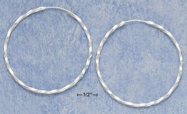 "STERLING SILVER HP 2"" TWISTED TUBULAR HOOP WITH ENDLESS CLOSURE"