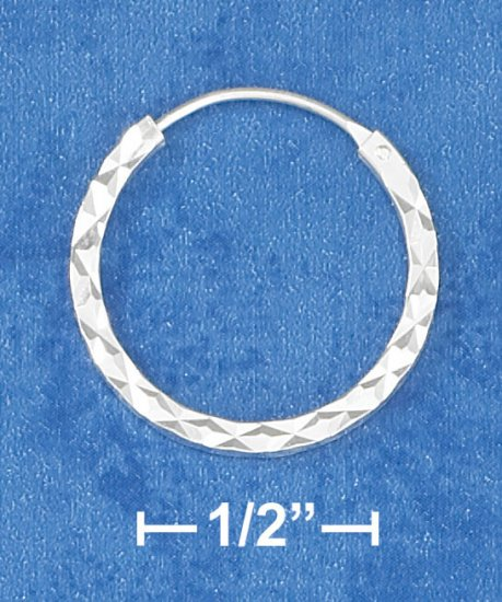 "STERLING SILVER HP 3/4"" SQ LASER CUT ENDLESS HOOP EARRINGS"