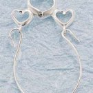 STERLING SILVER TRIPLE OPEN HEART CHARMHOLDER