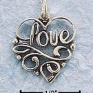 "STERLING SILVER SCROLLED ""LOVE"" W/ IN OPEN HEART CHARM"