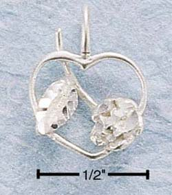 STERLING SILVER DC OPEN HEART W/ FULL ROSE CHARM