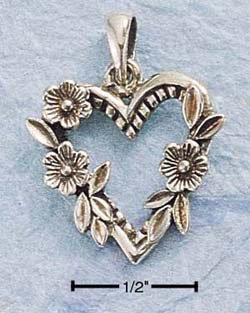 SILVER ANTIQUED OPEN HEART W/ 3 FLOWERS CHARM