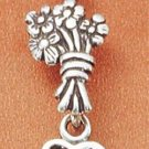 "STERLING SILVER FLOWERS & ""MOM"" HEART CHARM"