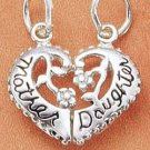"STERLING SILVER ""MOTHER/ DAUGHTER"" SPLIT HEART CHARM"