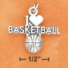 "SILVER ANTIQUED ""I HEART BASKETBALL"" W/ BASKETBALL CHARM"