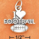 "SILVER ANTIQUED ""I HEART FOOTBALL"" WITH FOOTBALL CHARM"