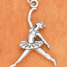 SILVER ANTIQUED 3D LEAPING BALLERINA CHARM