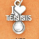 "SILVER ANTIQUED ""I HEART TENNIS "" W/ TENNIS BALL CHARM"