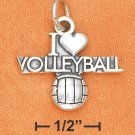 "SILVER ANTIQUED ""I HEART VOLLEYBALL"" W/ VOLLEYBALL CHARM"