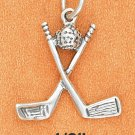 SILVER ANTIQUED CROSSED GOLF CLUBS W/ BALL CHARM