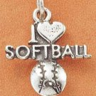 "STERLING SILVER ""I LOVE SOFTBALL"" CHARM"