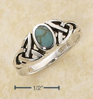 STERLING SILVER  TURQUOISE RING W/ CELTIC KNOTS