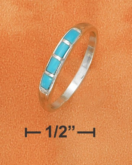 STERLING SILVER 3MM TAPERED DOMED BAND W/ TURQUOISE INLAY