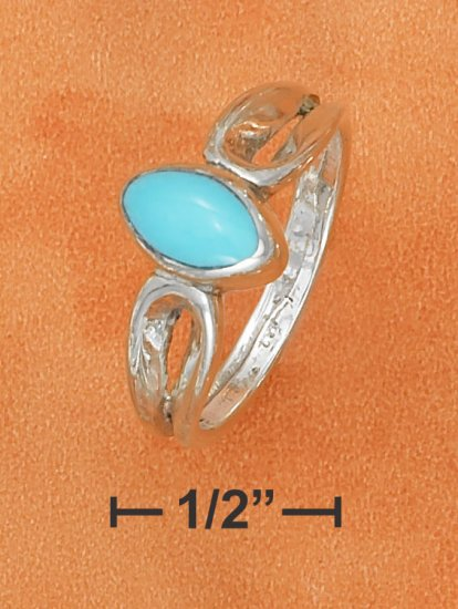 STERLING SILVER OVAL TURQUOISE RING WITH LOOPED SHANK