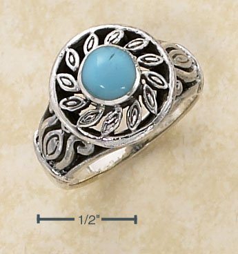 STERLING SILVER FILIGREE SUN DESIGN W/ TURQUOISE RING