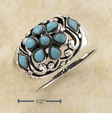 STERLING SILVER  DOME W/  TURQUOISE IN FLORAL PATTERN RING