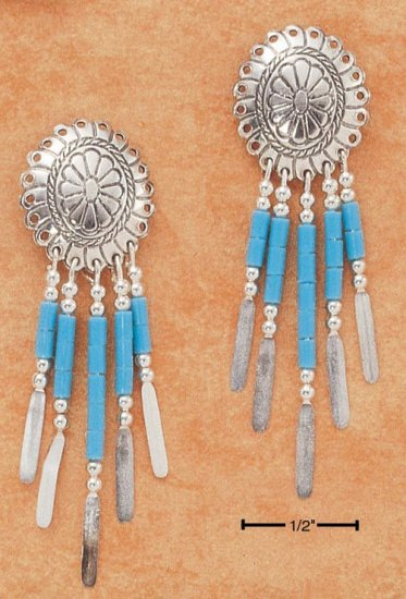STERLING SILVER SMALL CONCHO W/ TURQUOISE HESHI EARRINGS