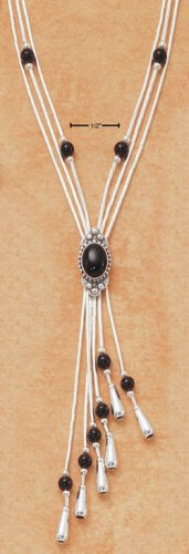 "STERLING SILVER 16"" EXPANDABLE  NECKLACE W/ ONYX BEADS & TASSEL"