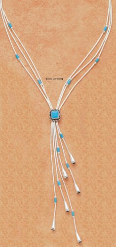 "STERLING SILVER 16"" EXPANDABLE  NECKLACE W/ TURQUOISE DIAMOND & TASSLE"