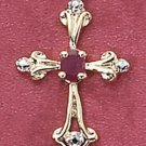 "STERLING SILVER VERMEIL 18"" BOX CHAIN W/ ROSE  CROSS W/ GEN RUBY"