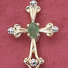 "STERLING SILVER VERMEIL 18"" BOX CHAIN W/ ROSE CUT  CROSS W/ EMERALD"