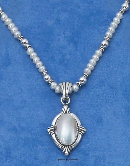 "STERLING SILVER 18"" FRESH WATER PEARL NECKLACE W/  MABE PEARL PENDANT"